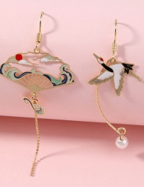Fashion Gold Color Dripping Crane Alloy Hollow Asymmetric Long Earrings