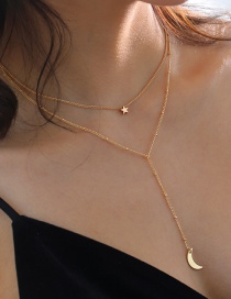 Fashion Gold Color Little Star And Crescent Alloy Multilayer Necklace