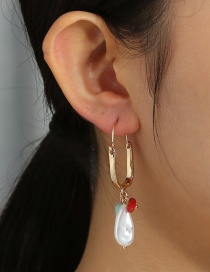 Fashion Gold Color U-shaped Pearl Natural Stone Alloy Earrings