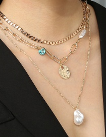 Fashion Gold Color Thick Chain Geometric Pearl Multilayer Necklace