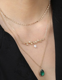 Fashion Gold Color Water Drop Pendant Alloy Multilayer Necklace