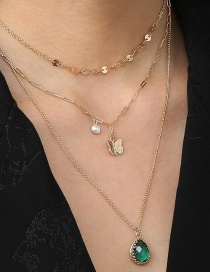 Fashion Gold Color Water Drop Zircon Butterfly Non-detachable Multilayer Necklace