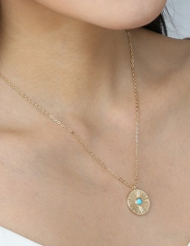 Fashion Gold Color Round Turquoise Pendant Necklace