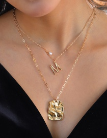 Fashion Gold Color Natural Freshwater Pearl Small Letter Pendant Multilayer Necklace