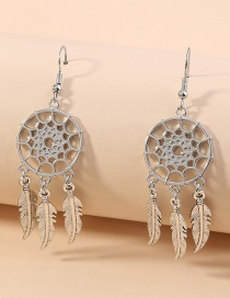 Fashion Dreamcatcher Dreamcatcher Hollow Feather Alloy Earrings