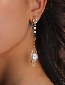 Fashion Gold Color Shell Disc Shaped Pearl Earrings