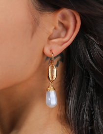 Fashion Gold Color Natural Pearl Alloy Shell C-shaped Earrings