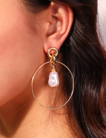 Fashion Gold Color Round Hand-wound Special-shaped Pearl Earrings