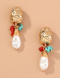 Fashion Gold Color C-shaped Metal Natural Stone Pearl Earrings