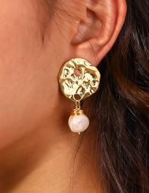 Fashion Gold Color Special-shaped Hand-wound Hollow Pearl Earrings