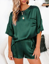 Fashion Dark Green Loose Solid Color Round Neck Short Sleeve Shorts Home Service Suit