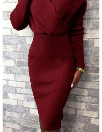 Fashion Red Solid Color Long-sleeved High-waisted V-neck Knitted Hip Dress