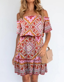 Fashion Red Printed Short Sleeve Off-the-shoulder Dress