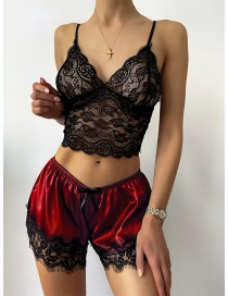 Fashion Red See-through Lace Sling Underwear Set