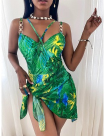 Fashion Green Printed Knotted Swimsuit