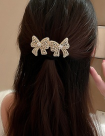 Fashion Golden Bowknot Pearl Alloy Hollow Hairpin