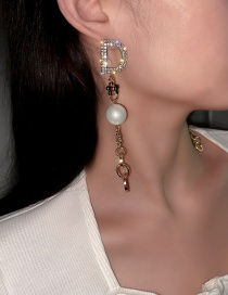 Fashion Golden Alloy Earrings With Diamonds And Pearl Letters