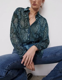 Fashion Dark Blue Flower Print Loose Long Sleeve Shirt