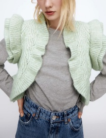 Fashion Green Ruffled Wool Knit Cardigan Vest