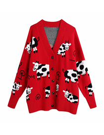 Fashion Photo Color Loose Animal Print V-neck Sweater Knitted Jacket