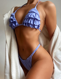 Fashion Light Blue Pleated Ruffled Solid Color Split Swimsuit