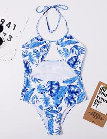 Fashion Blue Printed Cutout Swimsuit