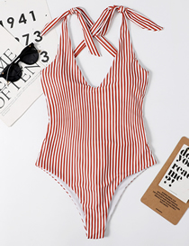 Fashion Brown Striped Knotted V-neck One-piece Swimsuit