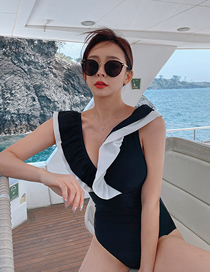 Fashion Black Ruffle Stitching Contrast Color One-piece Swimsuit