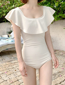 Fashion Off White Ruffled Tube Top And Shoulder One-piece Swimsuit