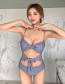 Fashion Lattice Checkered Knotted Hollow One-piece Swimsuit