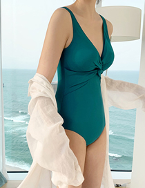 Fashion Navy Blue Knot Deep V Solid Color One-piece Swimsuit