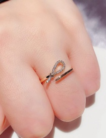 Fashion Real Gold Plated Micro-set Zircon Knotted Open Real Gold Plated Ring