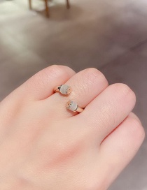 Fashion Real Gold Plated Micro-set Zircon Opal Open Gold Plated Ring