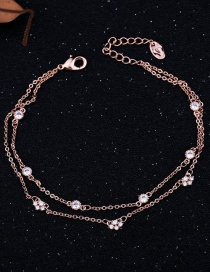 Fashion Rose Gold Plated Micro-inlaid Zircon Geometric Real Gold-plated Double-layer Bracelet