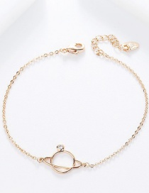 Fashion Rose Gold Diamond Saturn Sphere Bracelet