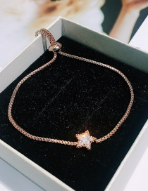 Fashion Rose Gold Plated Micro-inlaid Zircon Five-pointed Star Drawable Bracelet