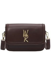 Fashion Coffee Color Letter Flap Crossbody Shoulder Bag