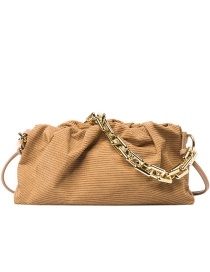 Fashion Brown Chain Pleated Shoulder Bag