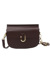 Fashion Coffee Color Buckle Chain Diagonal Shoulder Bag