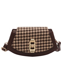 Fashion Coffee Color Woolen Lock Diagonal Shoulder Bag