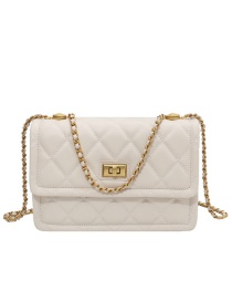 Fashion Trumpet White Chain Ribbed Lock Diagonal Shoulder Bag