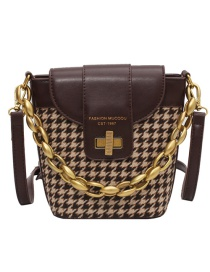 Fashion Coffee Color Woolen Chain Check Diagonal Shoulder Bag