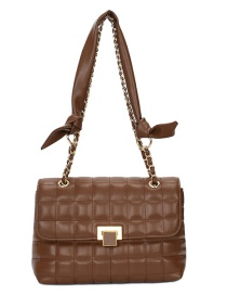 Fashion Coffee Color Chain Lock Flap Diagonal Shoulder Bag