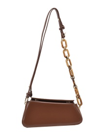 Fashion Brown Chain Stitching Edging Shoulder Bag