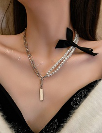 Fashion Pearl Double Pendant Pearl Lace Bow Necklace