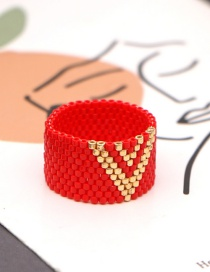 Fashion Red Rice Bead Woven Beaded Ring