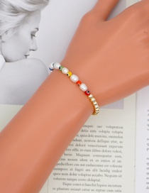 Fashion Gold Color Pearl Colorful Glass Eye Bracelet