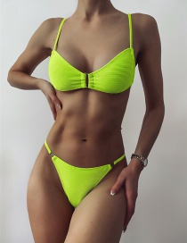 Fashion Fluorescent Yellow Metal Ring Split Swimsuit