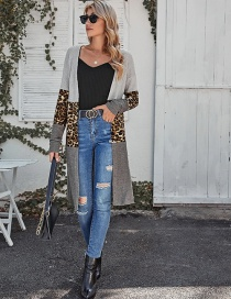 Fashion Leopard Contrast Stitching Leopard Print Long Cardigan Shawl Knitted Bottoming Shirt