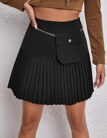 Fashion Black Pleated Skirt With Side Zip
